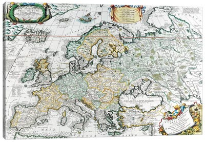 Antique Map of Europe Canvas Art Print