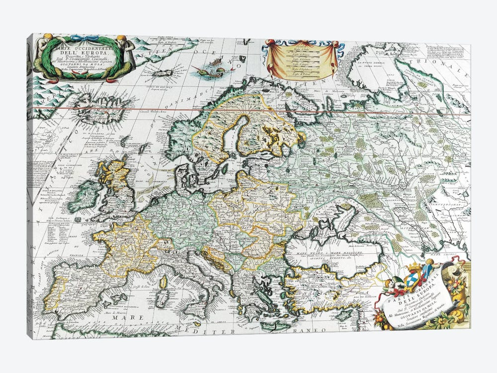 Antique Map of Europe by Unknown Artist 1-piece Canvas Art Print