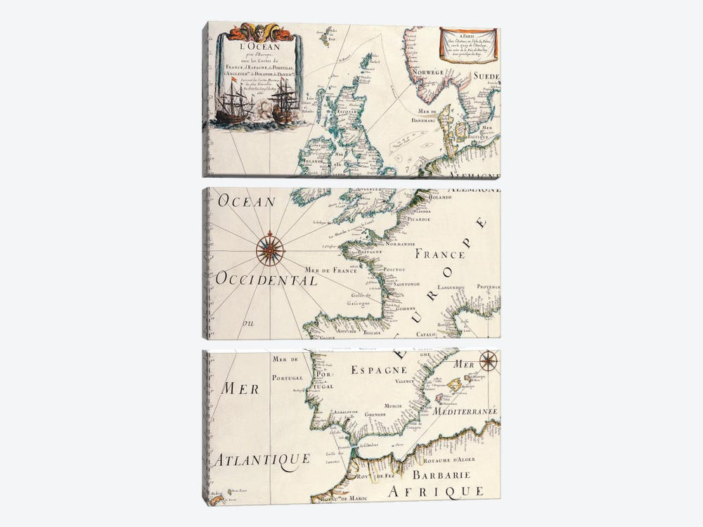 Antique West Europe Map 3-piece Canvas Artwork