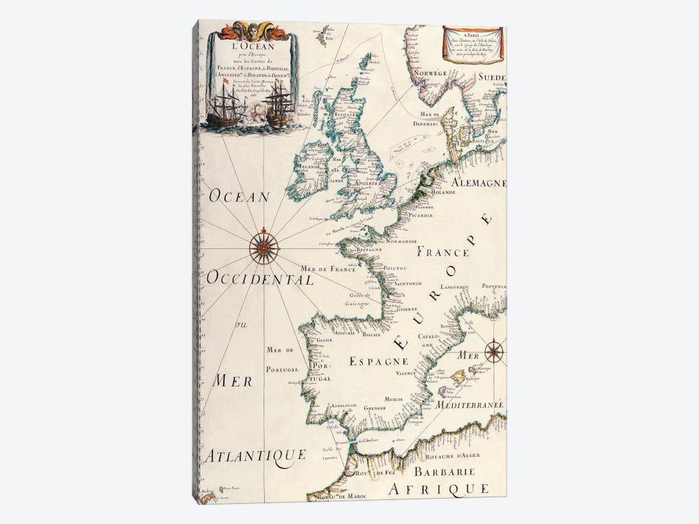 Antique West Europe Map by Unknown Artist 1-piece Canvas Art
