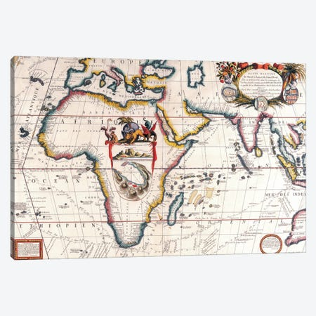 Antique Asia and Africa Map Canvas Print #7020} Canvas Wall Art