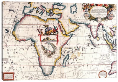 Antique Asia and Africa Map Canvas Wall Art