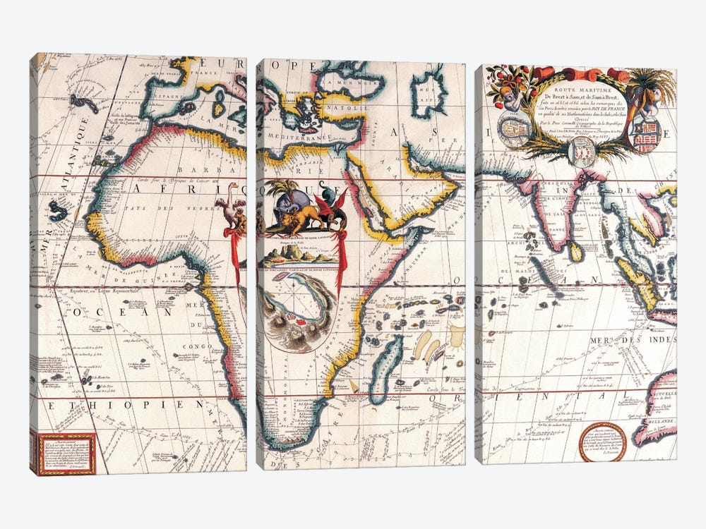 Antique Asia and Africa Map 3-piece Canvas Wall Art
