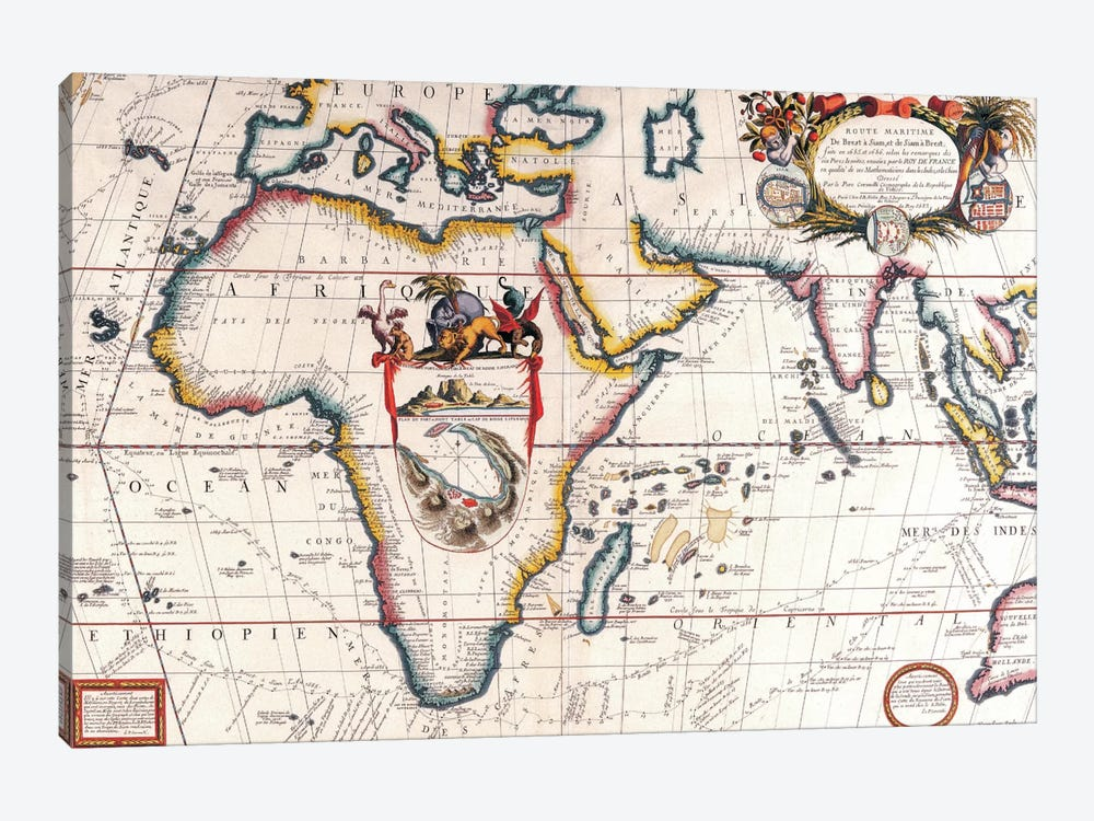 Antique Asia and Africa Map by Unknown Artist 1-piece Canvas Art