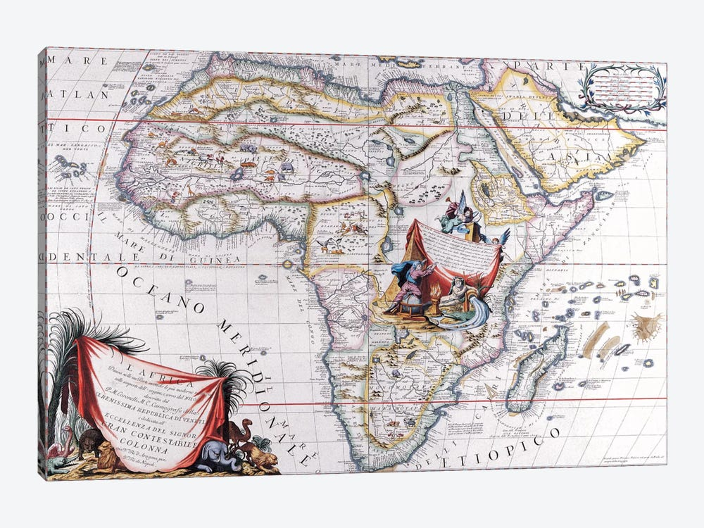 Antique Map of Africa by Unknown Artist 1-piece Canvas Art Print