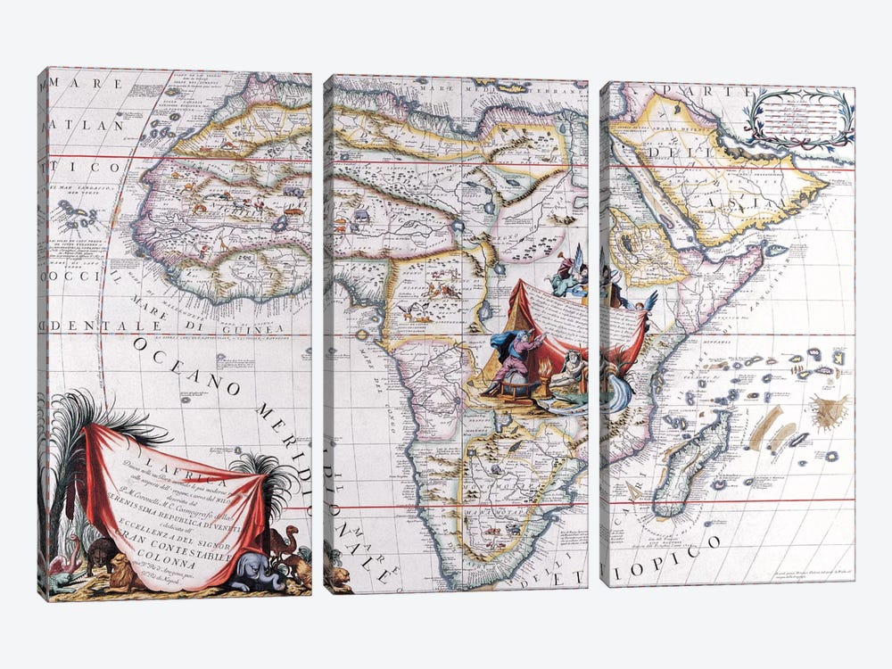 Antique Map of Africa 3-piece Canvas Art Print