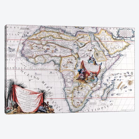 Antique Map of Africa Canvas Print #7021} by Unknown Artist Canvas Art