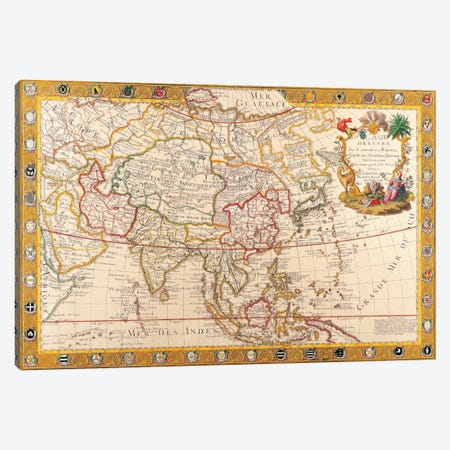Antique Map of Asia Canvas Print #7022} by Unknown Artist Canvas Wall Art