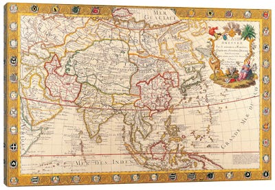 Antique Map of Asia Canvas Wall Art