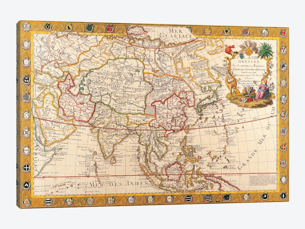 Antique Map of Asia by Unknown Artist 1-piece Canvas Artwork