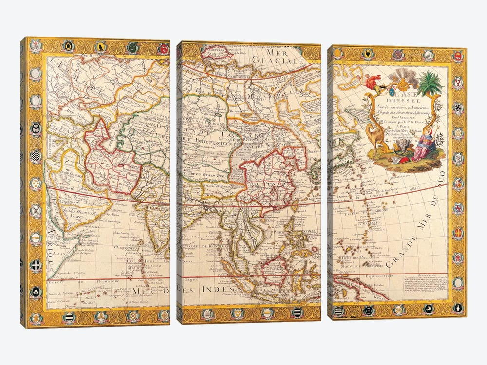 Antique Map of Asia by Unknown Artist 3-piece Canvas Wall Art