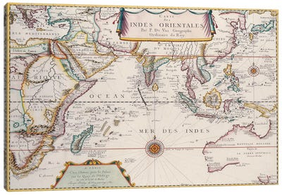 Antique Map of Indian Ocean Canvas Art Print