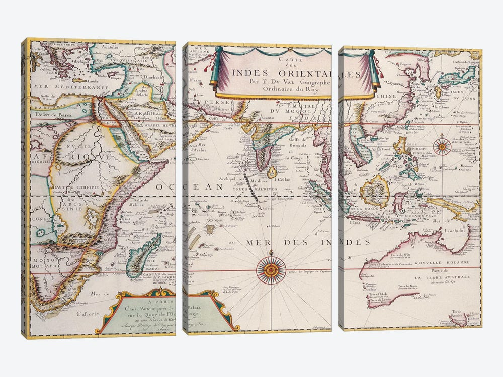 Antique Map of Indian Ocean 3-piece Canvas Print