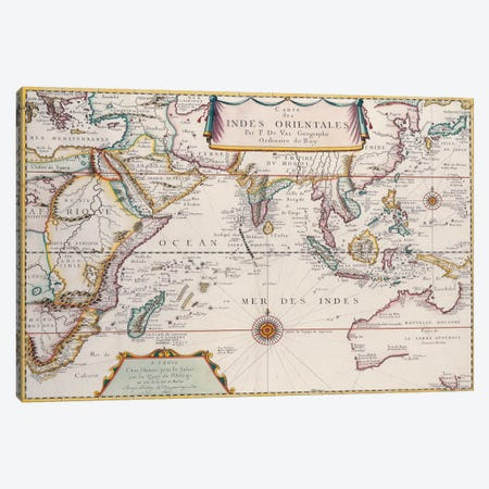 Antique Map of Indian Ocean Canvas Print #7023} by Unknown Artist Canvas Art
