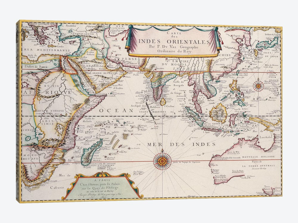 Antique Map of Indian Ocean by Unknown Artist 1-piece Canvas Print
