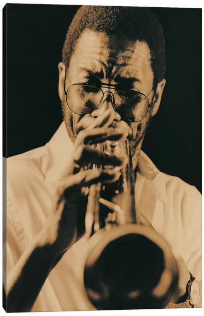 Jazz Trumpet Player Vintage Canvas Art Print