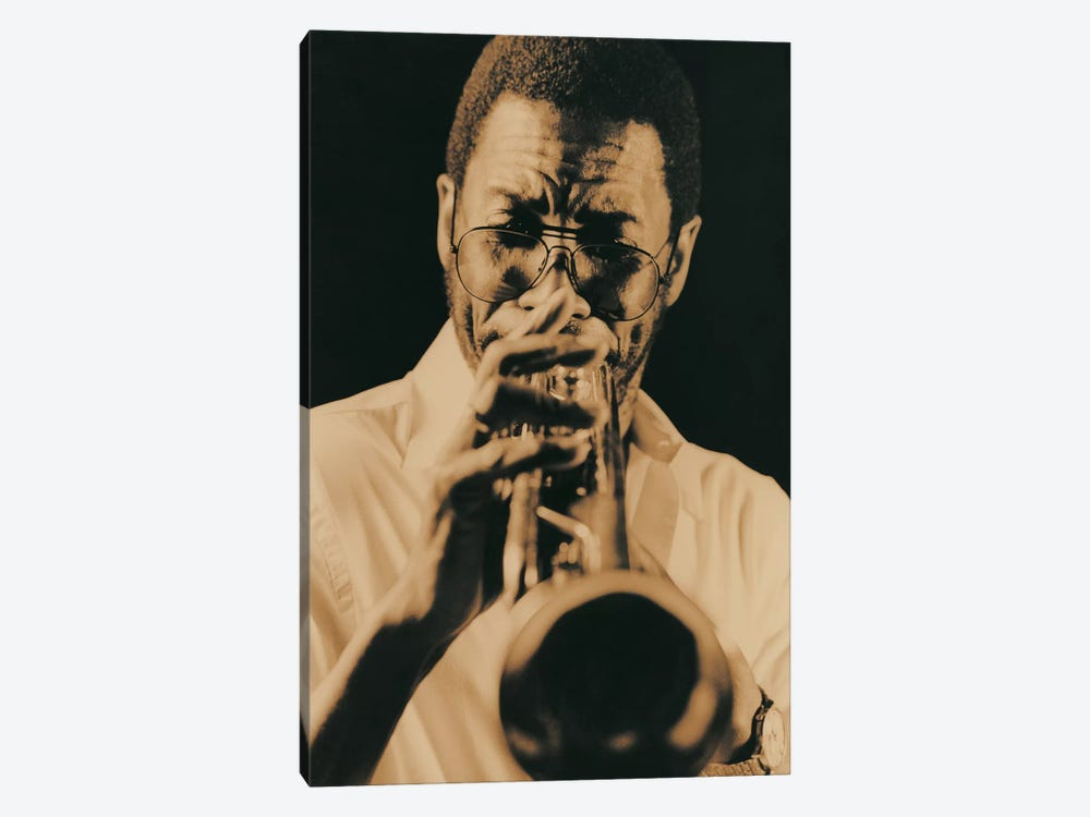 Jazz Trumpet Player Vintage by Unknown Artist 1-piece Canvas Artwork