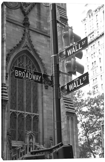Wall Street Signs (New York City) Canvas Print #7033