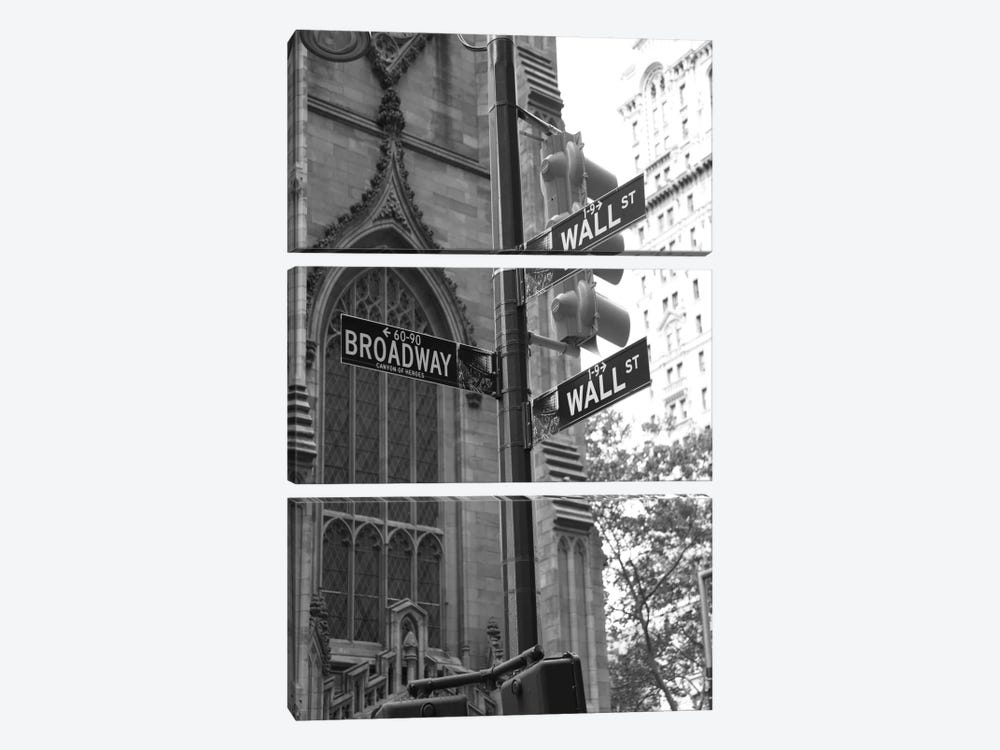 Wall Street Signs (New York City) by Christopher Bliss 3-piece Canvas Art