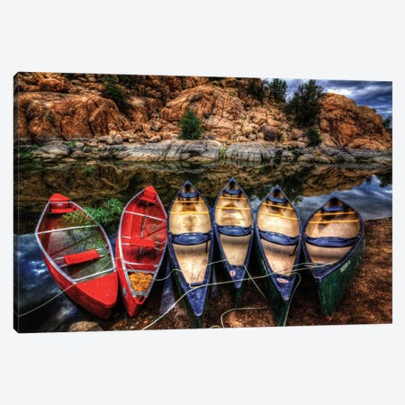 Canoe Color Canvas Print #7040} by Bob Larson Canvas Artwork
