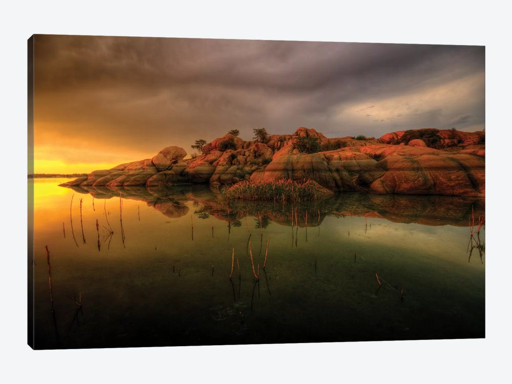Willow Lake Rock Wide I by Bob Larson 1-piece Canvas Art