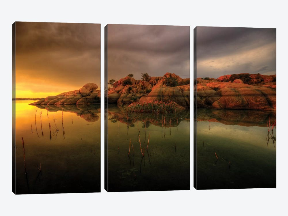 Willow Lake Rock Wide I by Bob Larson 3-piece Canvas Artwork