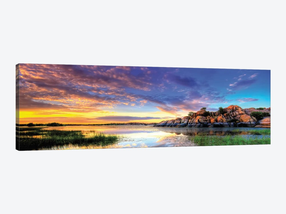 Willow Lake Spring Sunset by Bob Larson 1-piece Canvas Art