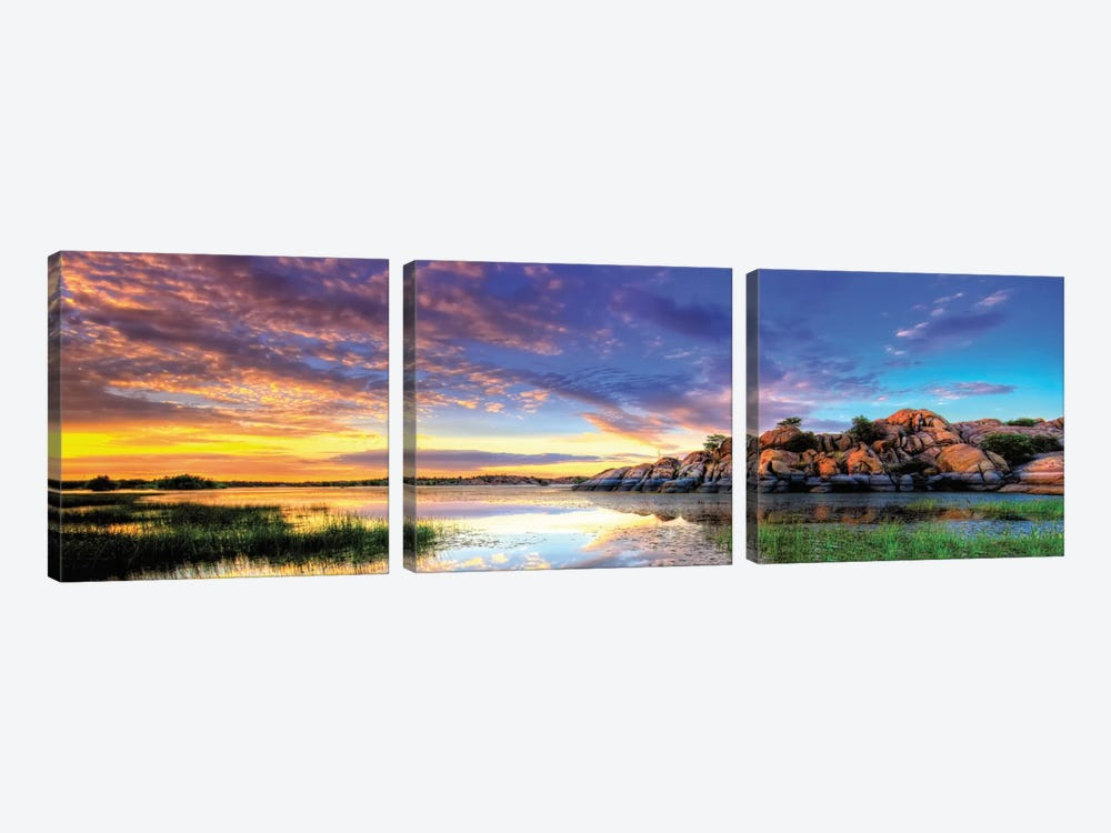Willow Lake Spring Sunset by Bob Larson 3-piece Canvas Wall Art