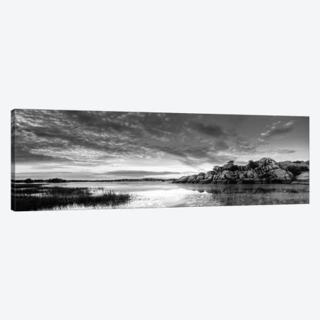 Willow Lake Spring Sunset (black & white) Canvas Print #7051bw} by Bob Larson Art Print