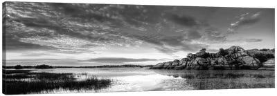 Willow Lake Spring Sunset (black & white) Canvas Print #7051bw
