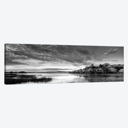 Willow Lake Spring Sunset (black & white) Canvas Print #7051bw} by Bob Larson Art Print