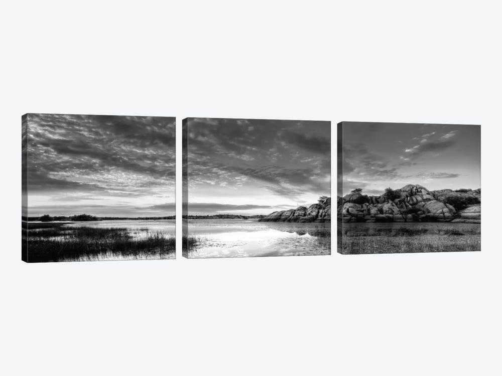 Willow Lake Spring Sunset (black & white) by Bob Larson 3-piece Canvas Art Print