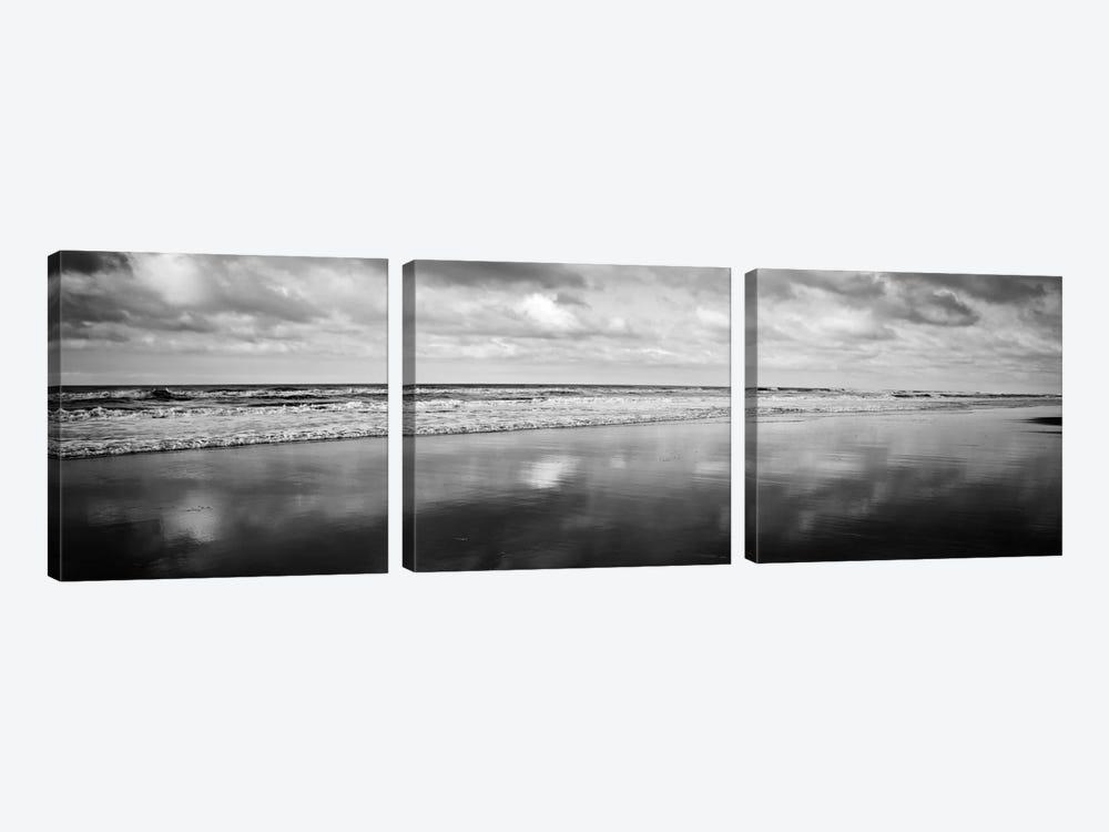 Beach (Black & White) by Michael Harrison 3-piece Canvas Print