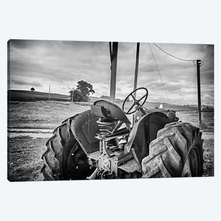 Tractor and Tobacco Field BW Canvas Print #7075} by Bob Rouse Canvas Art