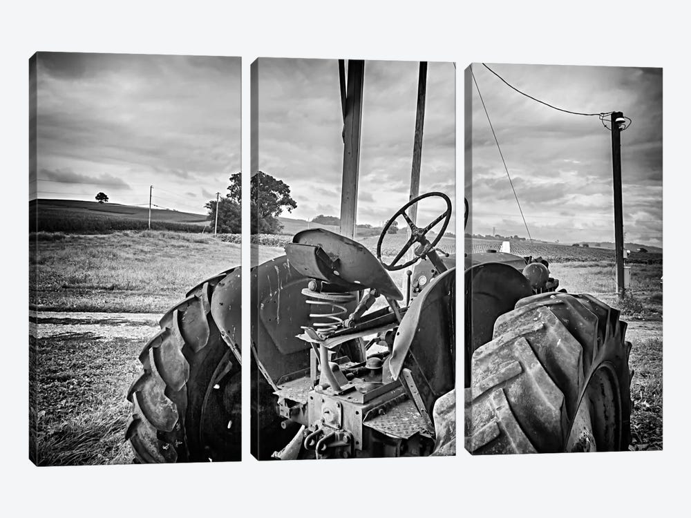 Tractor and Tobacco Field BW by Bob Rouse 3-piece Canvas Artwork