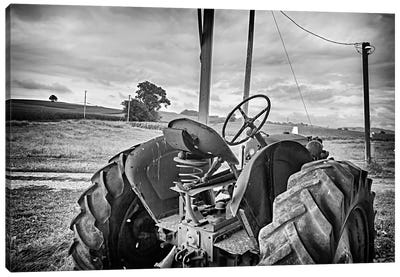 Tractor and Tobacco Field BW Canvas Art Print