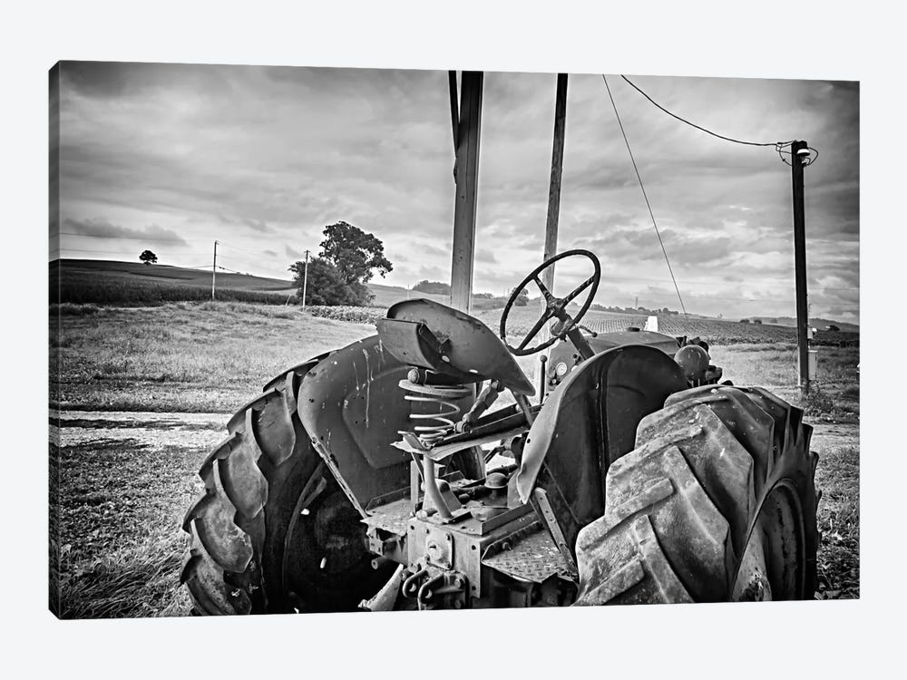 Tractor and Tobacco Field BW by Bob Rouse 1-piece Canvas Wall Art
