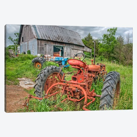 Tractors in Weeds Canvas Print #7076} by Bob Rouse Canvas Wall Art