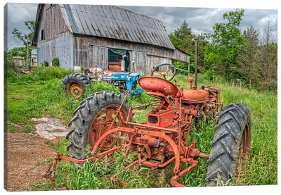 Tractors in Weeds Canvas Art Print