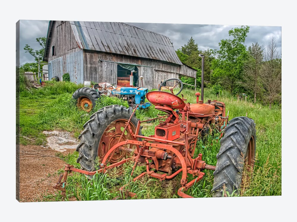 Tractors in Weeds by Bob Rouse 1-piece Canvas Print