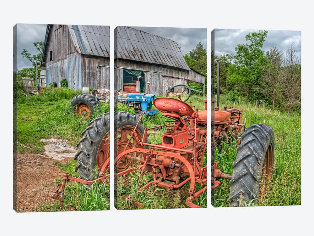 Tractors in Weeds by Bob Rouse 3-piece Canvas Art Print