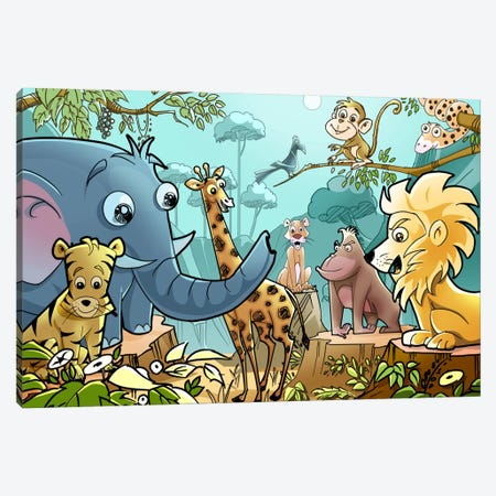 Jungle Cartoon Animals Canvas Print #7100} Art Print