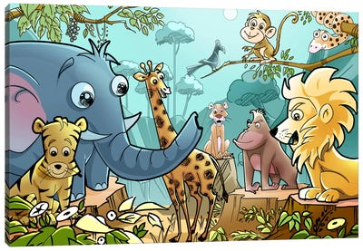 Jungle Cartoon Animals Canvas Art Print