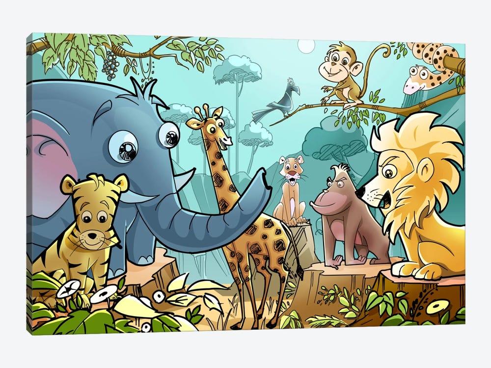 Jungle Cartoon Animals by Unknown Artist 1-piece Canvas Art Print