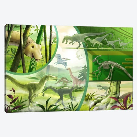 Jurassic Cartoon Dinosaurs Canvas Print #7106} by Unknown Artist Canvas Artwork