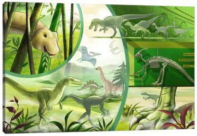 Jurassic Cartoon Dinosours Canvas Print #7106