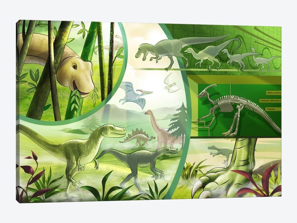 Jurassic Cartoon Dinosaurs by Unknown Artist 1-piece Canvas Print