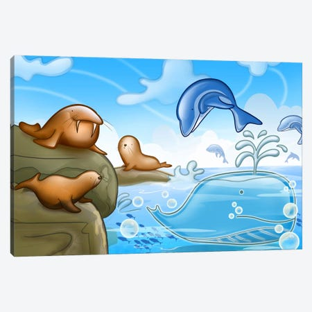Seals Dolphins & Whale Canvas Print #7107} by Unknown Artist Canvas Artwork