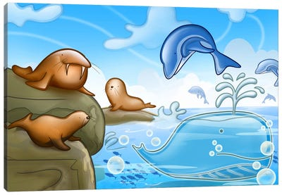 Seals Dolphins & Whale Canvas Art Print