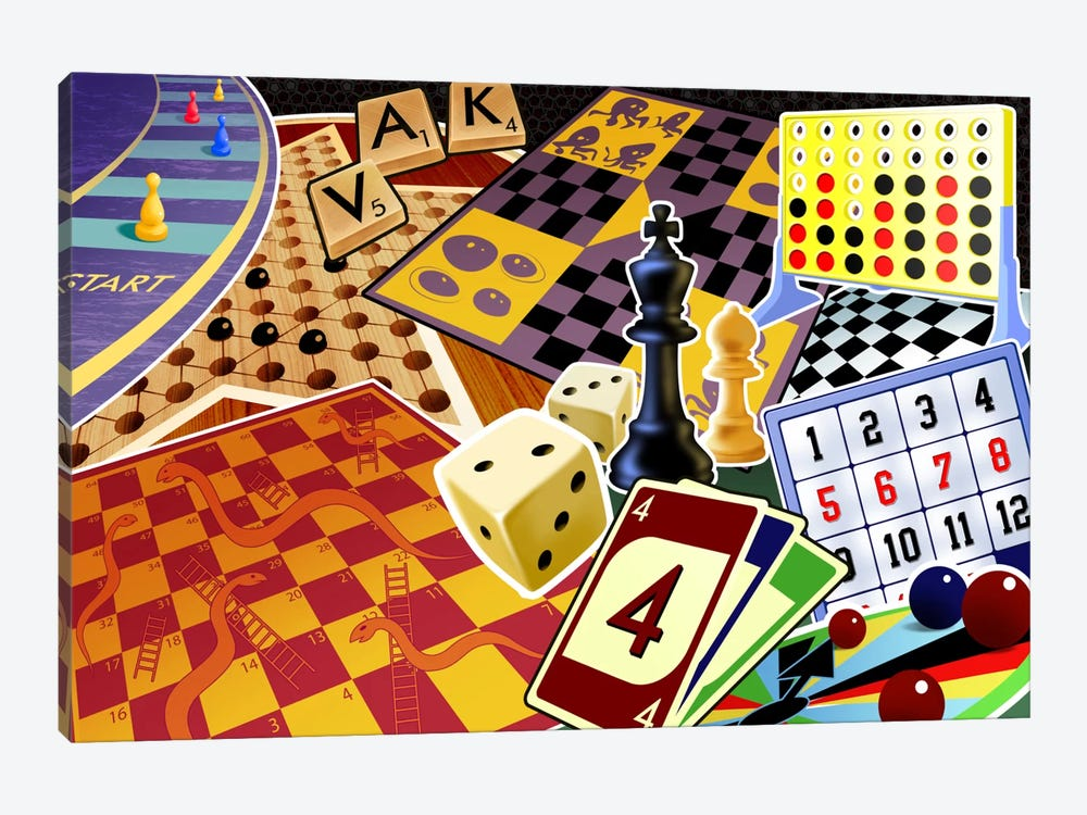 Board Games by Unknown Artist 1-piece Canvas Print